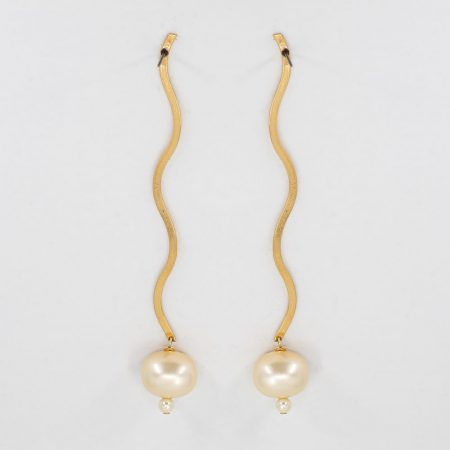 Ariel Metal Baby Yellow Sphere Pearl Long Earrings