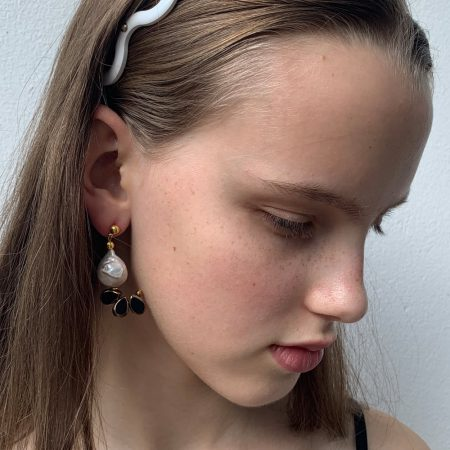Ariel Lana Black Glass Earrings