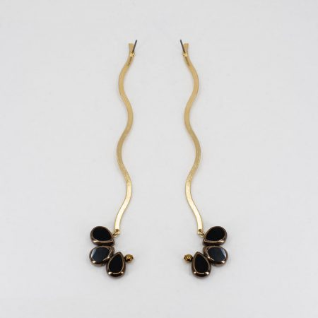 Ariel Metal Black Glass Long Earrings