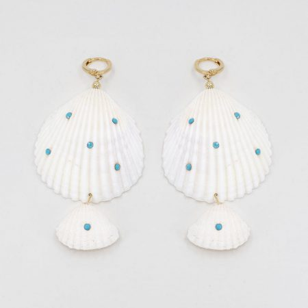 Shellfie Double Turquoise Dot Earrings