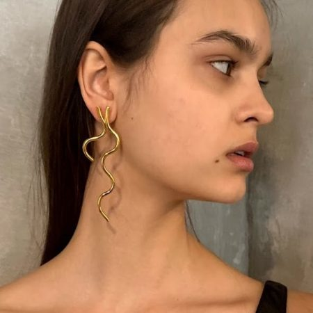 Fleurit Bud Earrings Gold Long