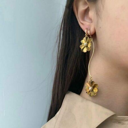 Fleurit Pearl Twirl Long Earrings