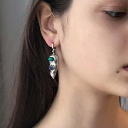 Lana Silver Ultra Malachite Earrings