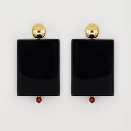 Donna Onyx Plate Earrings