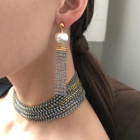 Bombshell Blue Pearl Earrings