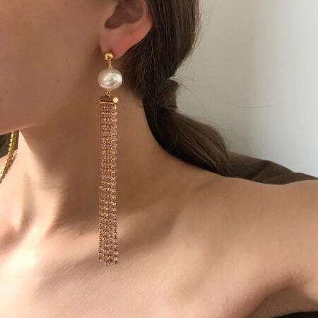 Bombshell Pink Pearl Earrings