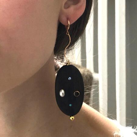 Eve Ebony Large Earrings Long