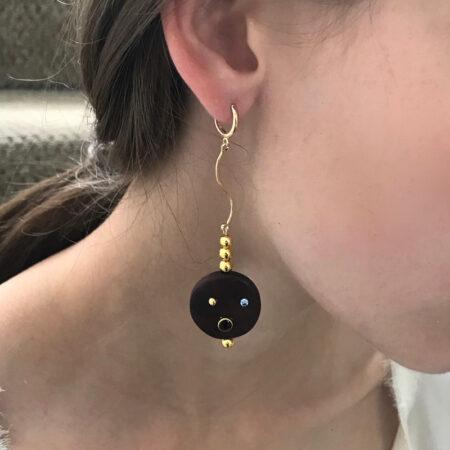 Eve Ebony Three Ball Earrings