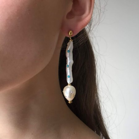 Lana Three Blue Crystal Pearl Earrrings