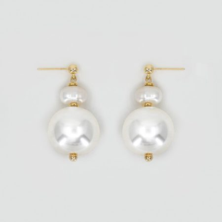 Donna Round Pearl Earrings