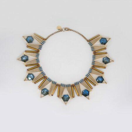Dorree Blue Crystal Crown Necklace
