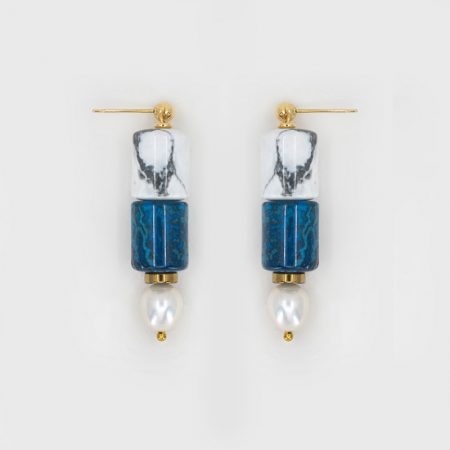 Lana Blue Marble Earrings