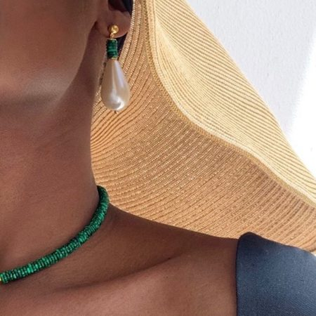 Donna Drop Malachite Earrings