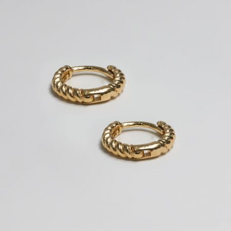 Small Twine Ring Earrings Gold