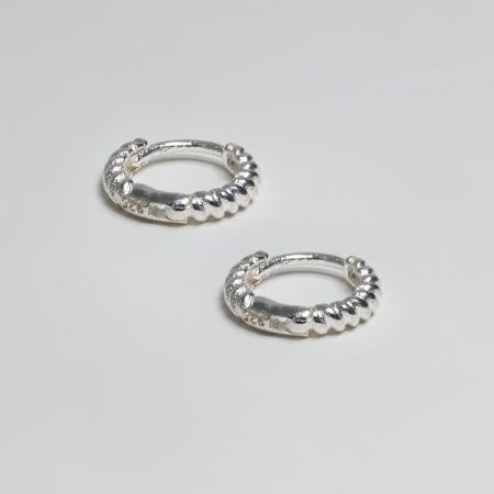 Small Twine Ring Earrings Silver