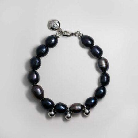 Dark Pea Silver Bell Bracelet