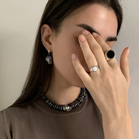 Dark Lana Pearl Earrings