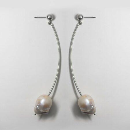 Donna Lana Long Drop Silver Earrings