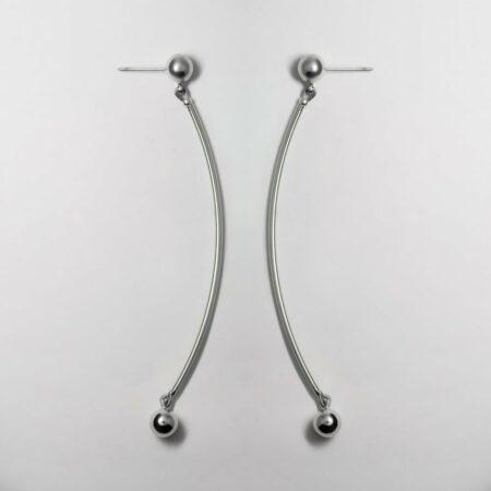 Donna Long Drop Silver Earrings